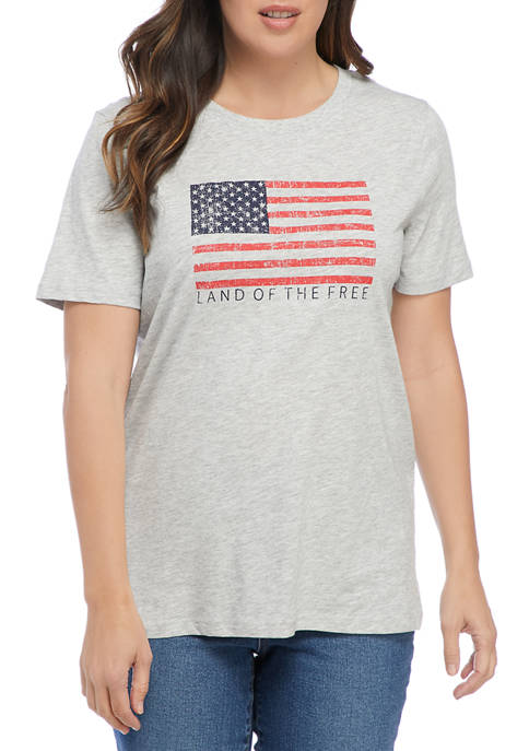 Liberty Park Womens Short Sleeve Flag Graphic T-Shirt
