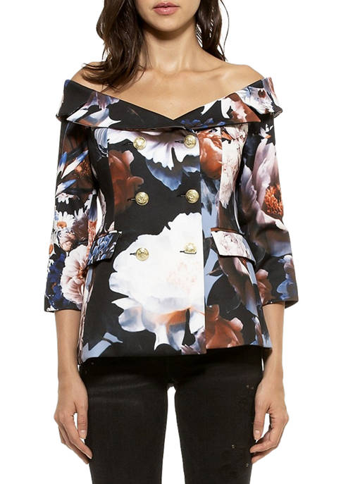 Alexia Admor Womens Karina Floral Jacket