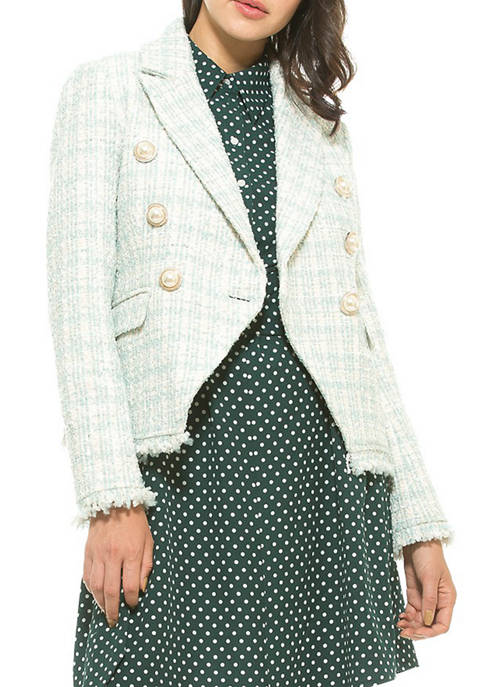 Alexia Admor Womens Shine Tweed Jacket