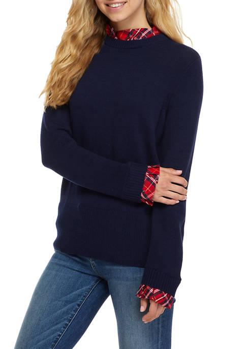 Crown & Ivy™ Womens Long Sleeve Ruffled Neck