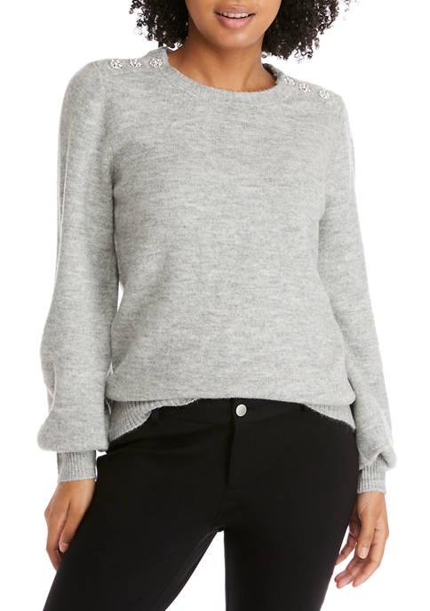 Crown & Ivy™ Womens Long Sleeve Jewel Shoulder