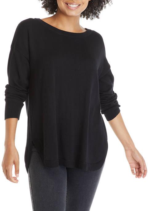 Crown & Ivy™ Womens Drop Shoulder Zip Back