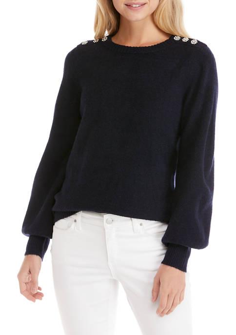Womens Long Sleeve Jewel Shoulder Sweater