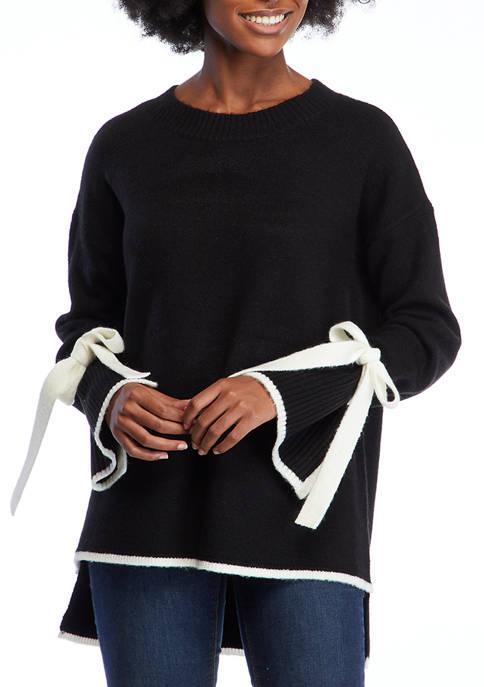Crown & Ivy™ Womens Long Contrast Tie Sleeve