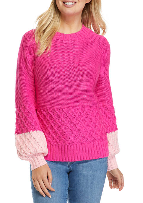Crown & Ivy™ Womens Balloon Sleeve Cable Knit