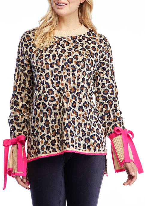 Crown & Ivy™ Womens Tie Sleeve Printed Sweater