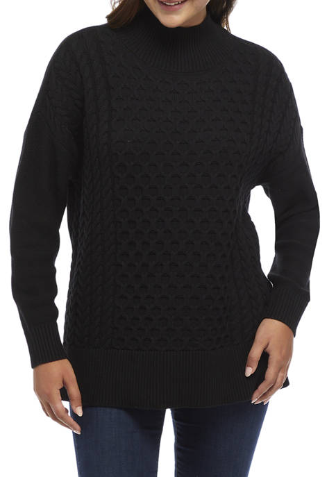 Crown & Ivy™ Womens Long Sleeve Cable Knit