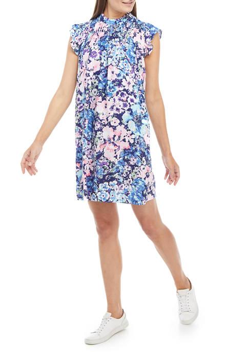 Crown & Ivy™ Womens Printed Smocked Yoke Dress