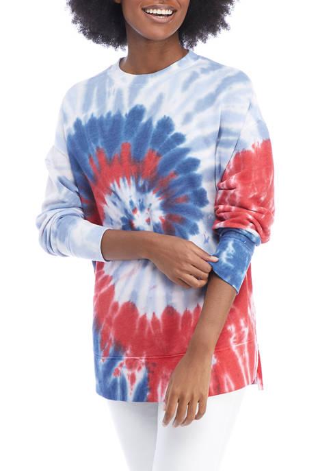 Crown & Ivy™ Womens Drop Shoulder Tie Dyed