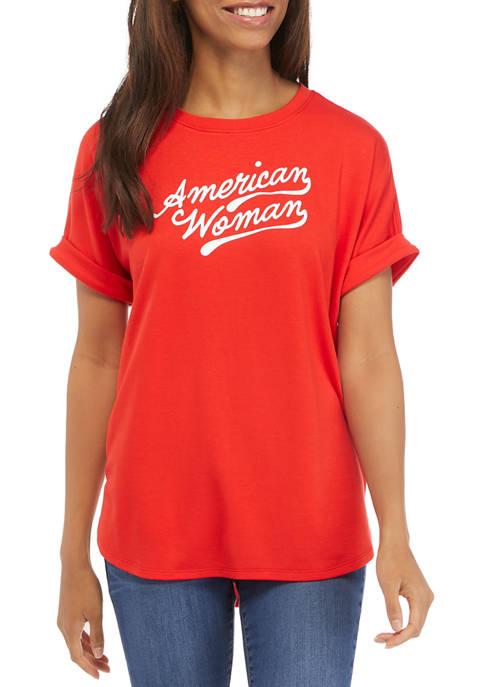 Crown & Ivy™ Womens Roll Sleeve T-Shirt