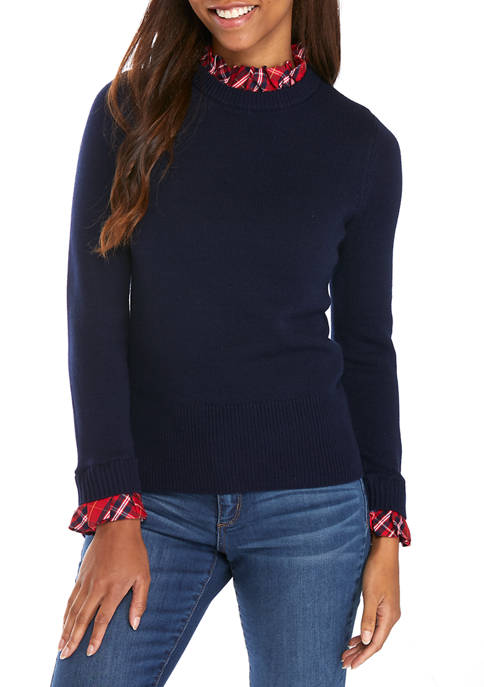 Crown & Ivy™ Petite Long Sleeve Ruffle Neck