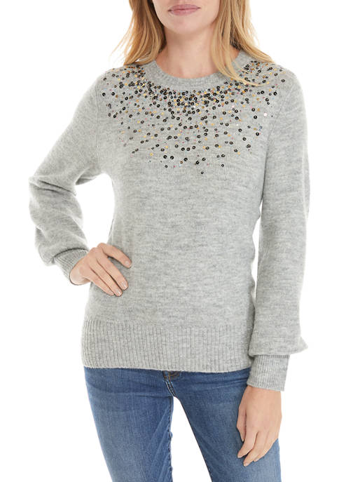 Crown & Ivy™ Petite Long Sleeve Jewel Neck