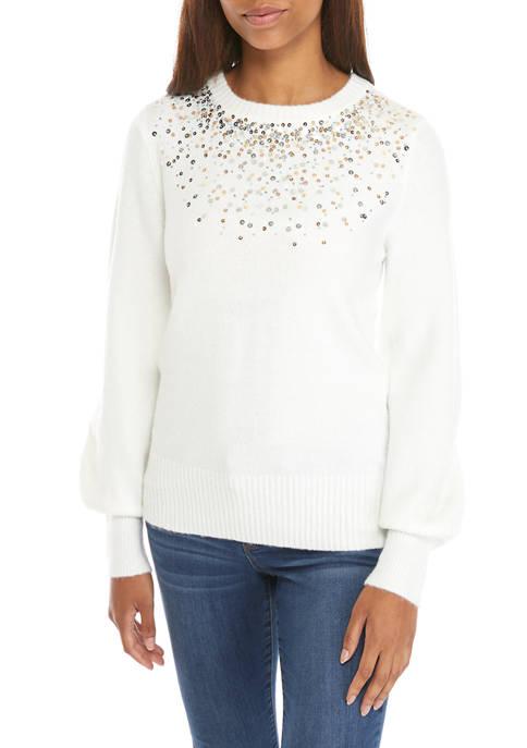Crown & Ivy™ Petite Long Sleeve Jewel Shoulder