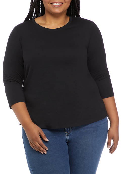 Crown & Ivy™ Plus Size 3/4 Sleeve T-Shirt