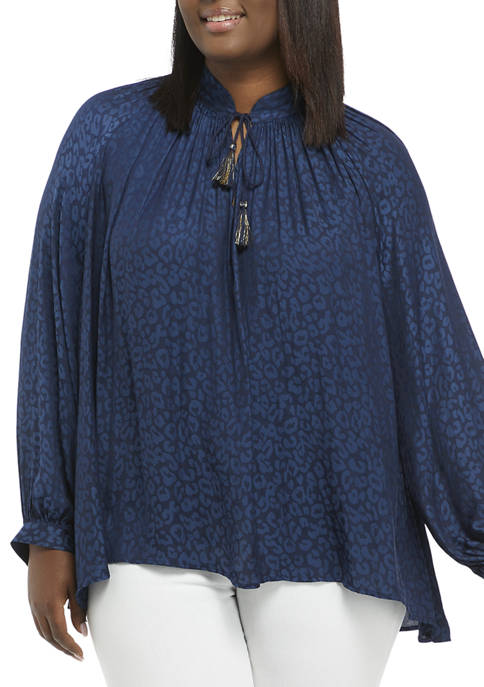 Crown & Ivy™ Plus Size Blouson Sleeve Tassel