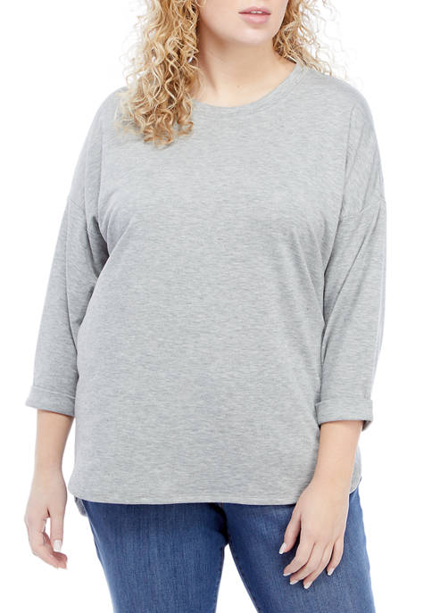 Crown & Ivy™ Plus Size Rolled Cuff Sweatshirt