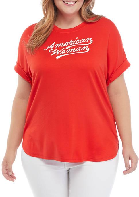 Crown & Ivy™ Plus Size Roll Sleeve Sweatshirt