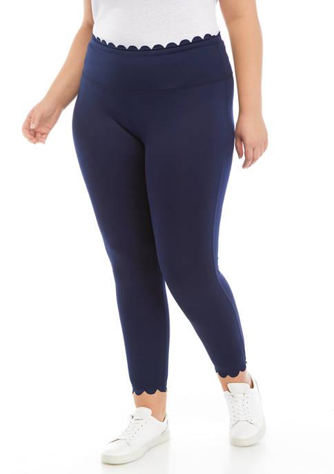 Crown & Ivy™ Plus Size Scalloped Leggings