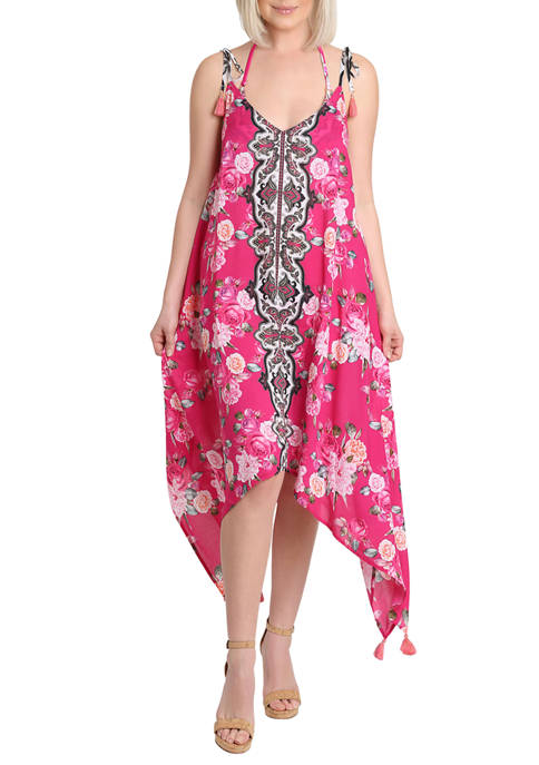 Floral Handkerchief Hem Swim Dress with Tassel Detail and Tie Shoulders
