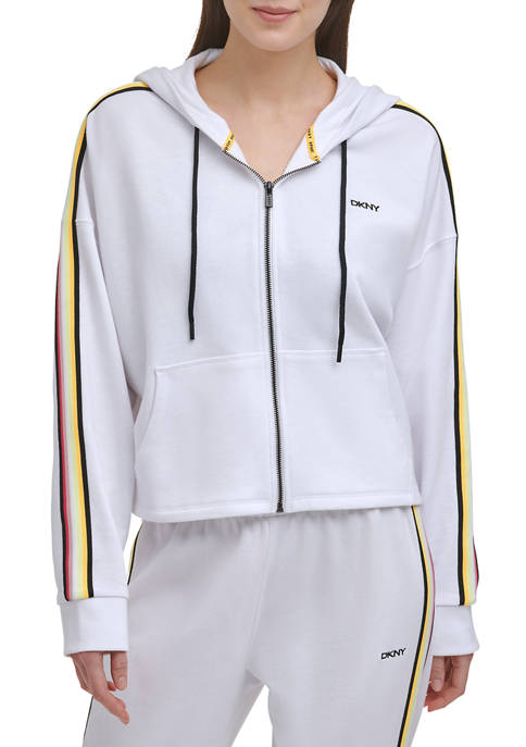 DKNY Sport Cropped Zip Hoodie with Taping