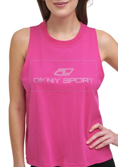 DKNY Sport Rhinestone Logo Knotted Tank