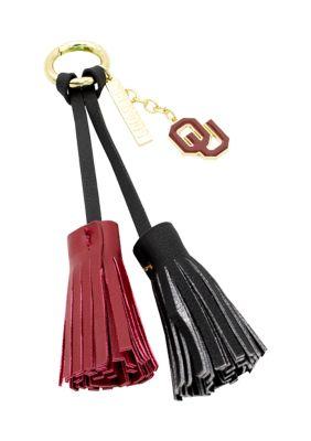 Capri Designs Women Ncaa University Of Oklahoma Tassel Keychain With Charm