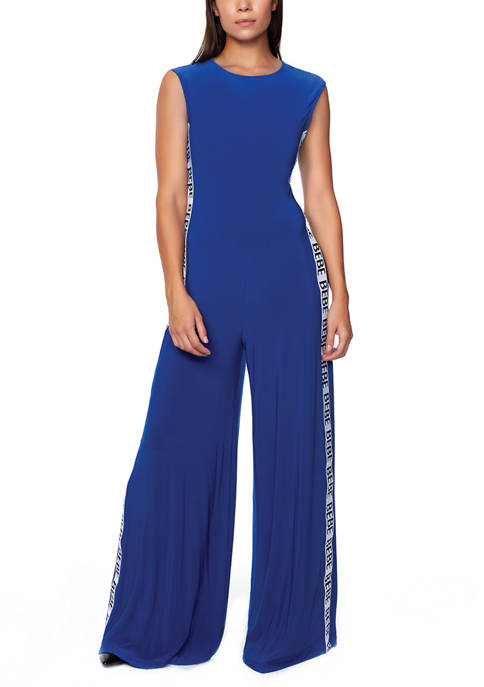Bebe Womens Jumpsuit with Logo Trim