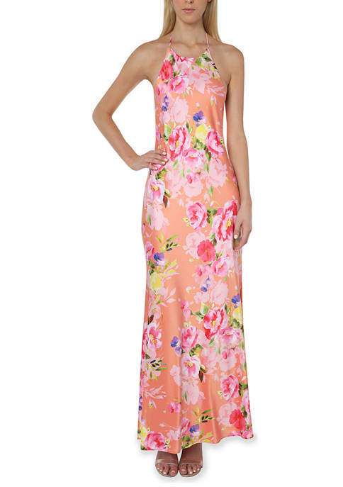 Bebe Printed Satin Halter Neck Maxi Dress