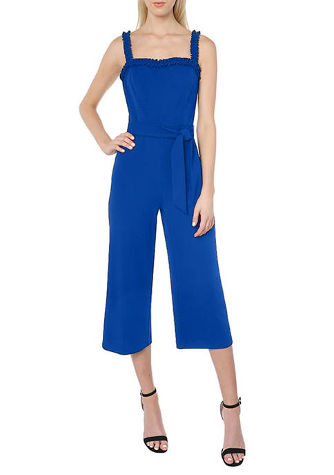 Bebe Womens Ruffle Jumpsuit With Tie