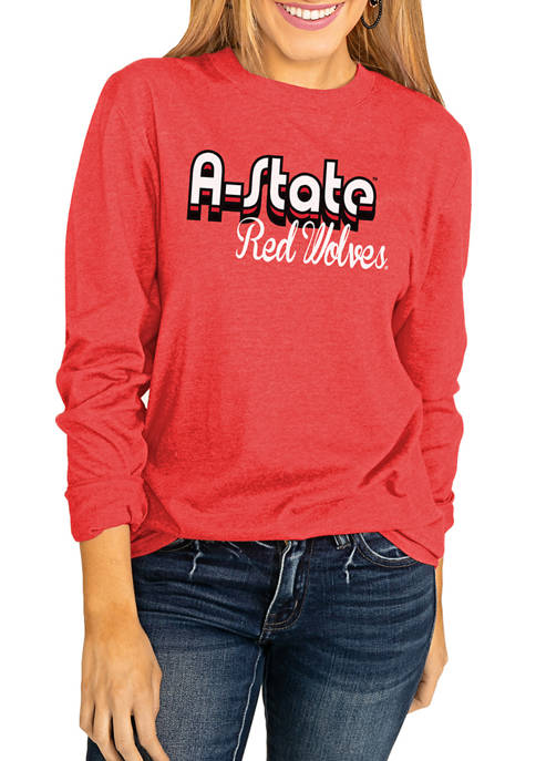 NCAA Arkansas State Red Wolves Throwback Varsity Vibes Long Sleeve Top