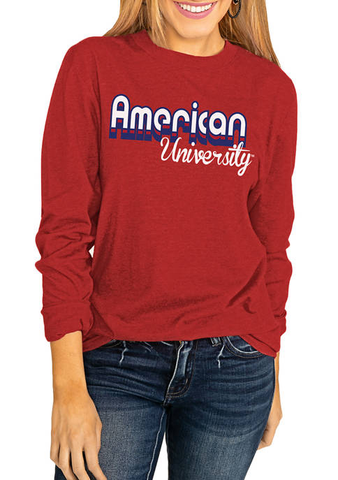 NCAA American University Throwback Varsity Vibes Long Sleeve Top