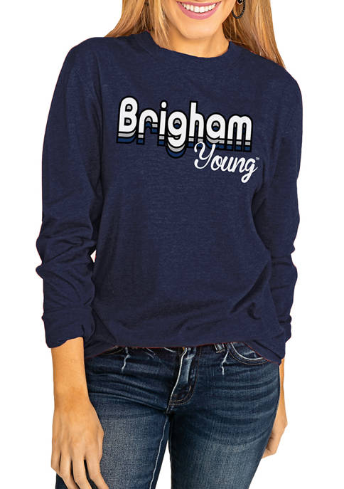 NCAA Brigham Young Cougars Throwback Varsity Vibes Long Sleeve Top