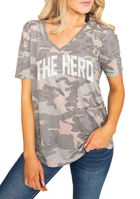 NCAA Marshall Thundering Herd No Hiding Camo V-Neck Top