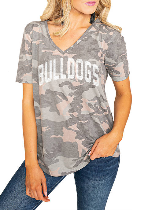 NCAA Mississippi State Bulldogs No Hiding Camo V-Neck Top