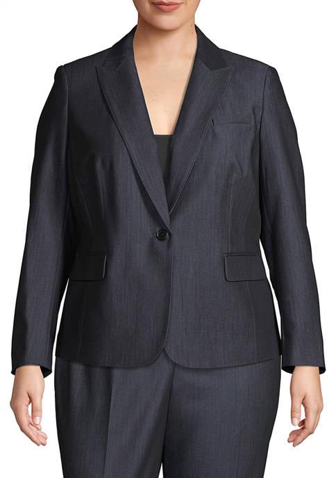 Anne Klein Plus Size Denim Twill Jacket