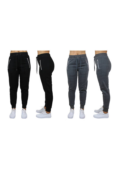 Womens Loose Fit Jogger Pants With Zipper Pockets (2 Pack)