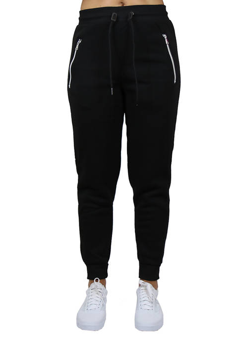 Womens Loose Fit Jogger Pants with Zipper Pockets