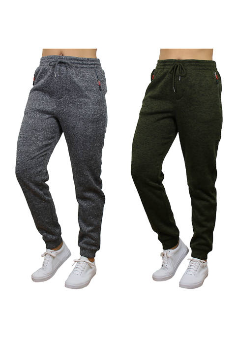 Womens Loose Fit Fleece Jogger Sweatpants With Zipper Pockets - 2 Pack