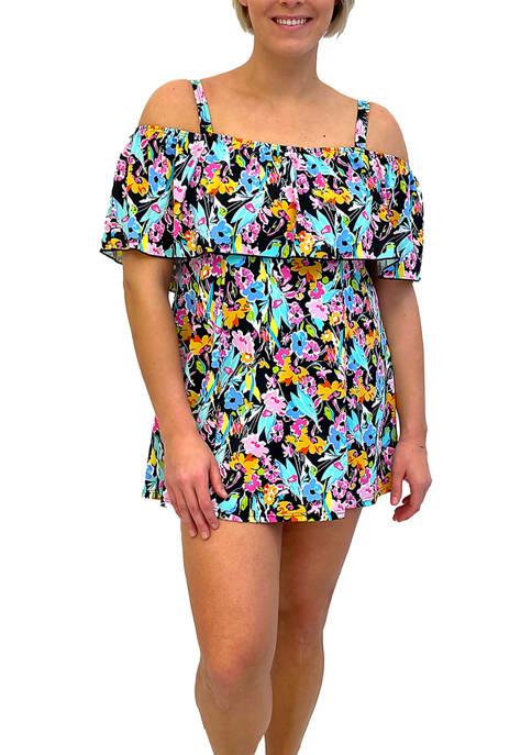 Plus Size Off the Shoulder Swim Dress