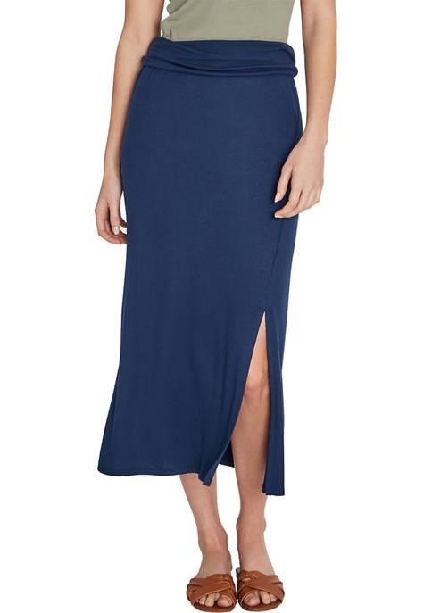 Wide Waistband Maxi Skirt