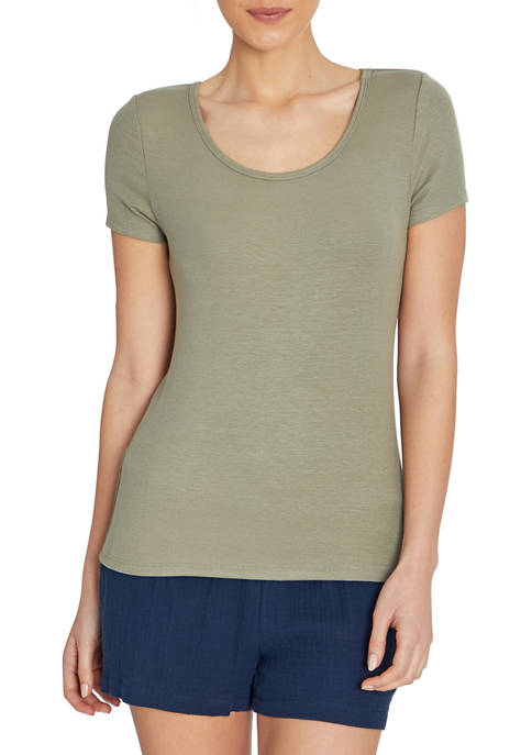 Ribbed Short Sleeve Scoop Neck T-Shirt