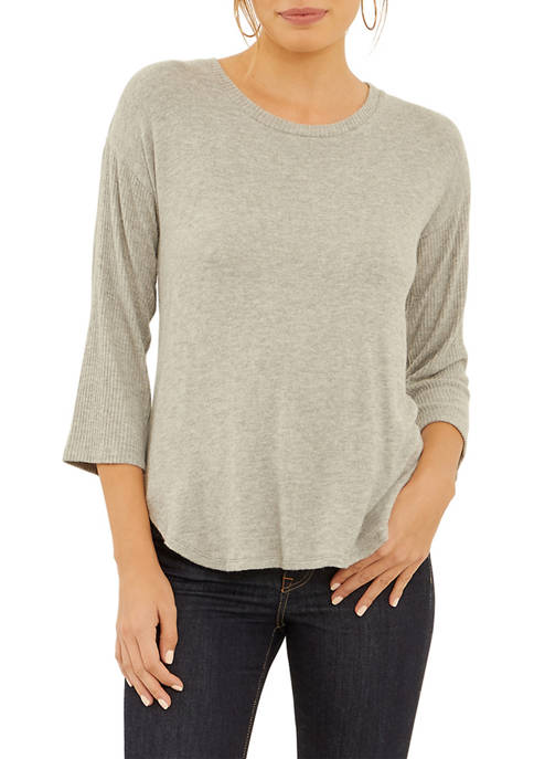 Three Dots Brushed Sweater Ribbed Sleeve Dolman Top