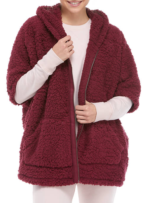 TRUE CRAFT Soft Shop Zip Front Sherpa Poncho