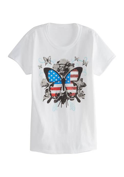 Womens Butterfly Garden Graphic T-Shirt