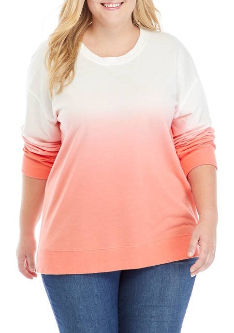 Crown & Ivy™ Plus Size Dip Dye Sweatshirt