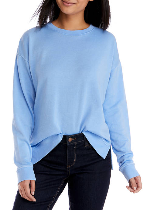 Crown & Ivy™ Womens Long Sleeve Garment Dyed