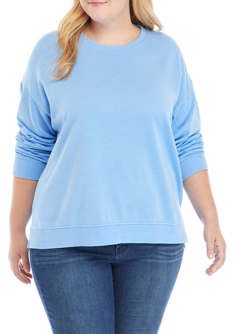 Crown & Ivy™ Plus Size Garment Dye Sweatshirt