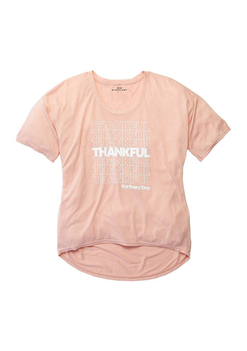 Womens Loose Graphic Thankful T-Shirt