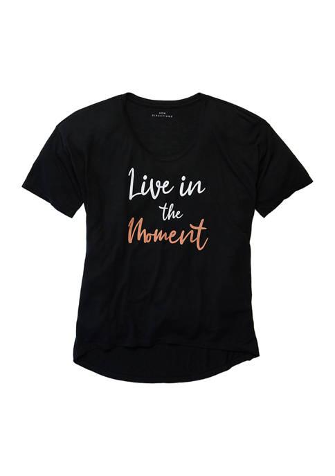 Studio Womens Short Sleeve Loose Graphic T-Shirt