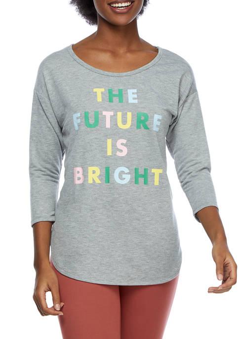 New Directions® Studio Womens 3/4 Sleeve Graphic T-Shirt